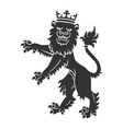 Black Standing Lion With Crown vector image vector image