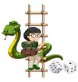Boy and snake climbing up the ladder vector image vector image