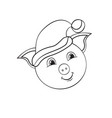 christmas stick cartoon pig isolated object on vector image