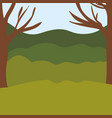 colorful background with trees and mountains vector image