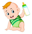 cute baby playing and hold the milk bottle vector image vector image