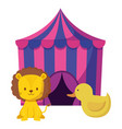 cute circus lion in tent and duck vector image