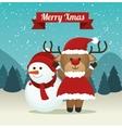 cute reindeer snowman suit santa landscape vector image vector image