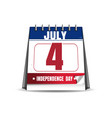 Desktop calendar with the date of 4 july