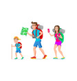 family tourist hipster father mother and son vector image vector image