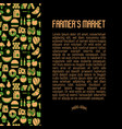 farmers market concept contains seamless pattern vector image