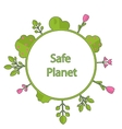 Frame form circle green earth plant flower cry vector image