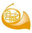 french horn on white background vector image