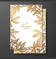 gold floral card template with peony leaves vector image vector image