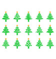 green christmas tree icons set vector image vector image
