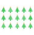 green christmas tree icons set vector image vector image