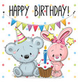 greeting card rabbit and bear vector image vector image