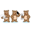 Grizzly Bear Mascot with laptop vector image vector image