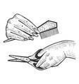 Hairdresser barber hands sketch engraving