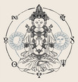 hand-drawn sitting buddha meditating in lotus pose vector image