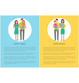 happy family father and mother vector image