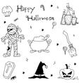 Happy Halloween in doodle for kids vector image