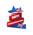 happy independence day 4th july ribbon and vector image vector image