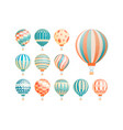 hot air balloons flat set vector image
