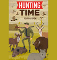 Hunter with hunting trophy gun animals and birds
