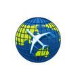 icon plane and world globe vector image