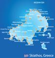 Island of Skiathos in Greece map vector image vector image