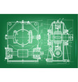 machine-building drawings on a green background vector image vector image