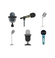 microphone icon set flat style vector image