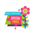 only one day special price advertisement sticker vector image