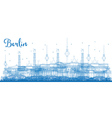 Outline Berlin skyline with blue buildings vector image vector image