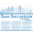 outline san salvador skyline with blue buildings vector image vector image