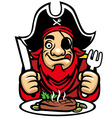 pirate eat steak vector image vector image