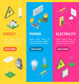 power signs icons set isometric view vector image vector image
