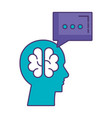 profile with brain storming and speech bubble vector image vector image