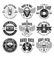 rock and heavy metal music set emblems vector image vector image
