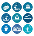 set of marine freight transportation icons vector image vector image