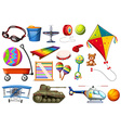 Set of toys and transportations vector image vector image