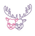 silhouette cute elk head animal couple together vector image vector image