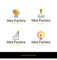 simple flat line icons idea factory creative vector image