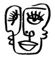 simple hand drawn abstract line continuous face vector image