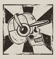 skull music side view vintage grunge design vector image vector image