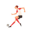 soccer player kicking ball football player vector image vector image