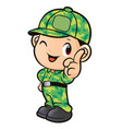 soldier character front instruction isolated on vector image vector image