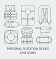 thin line icon set life jackets icons vector image