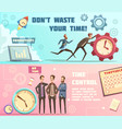 time management retro cartoon banners vector image