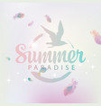 travel banner with words summer paradise and gull vector image vector image