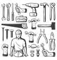 Vintage Repair Workshop Icon Set vector image vector image
