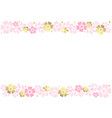 white background with stripes of pink flowers vector image