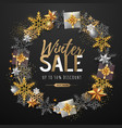 winter big sale typography poster with snowflake vector image