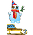Yellow sled and Snowman with tree branches vector image vector image